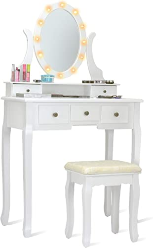 lowest Giantex LED Vanity Set Dressing discount Table with Mirror, Gilrs Lighted Vanity Mirror Table with popular 12 Rose Lights, Large Storage for Bedroom Bathroom Vanity Desk, White Makeup Vanities with Padded Stool online sale