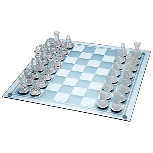 Ajedrez de Cristal Juego de ajedrez Grande de 35cm X 35cm con 32 Piezas de Cristal, para 2 Jugadores. Edad 8 +. Piezas de Vidrio Esmerilado y Transparente y Tablero de Vidrio.