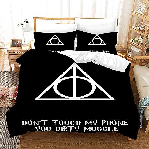 NICHIYO Juego de ropa de cama de Harry Potter – Funda nórdica y funda de almohada, microfibra, impresión digital 3D de tres piezas (funda nórdica + fundas de almohada) (11,King 220 x 240 cm) 32