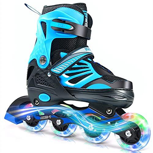 PowerRider Inline Skates for Kids Girls Boys Adults Adjustable Size Roller Skates for Teens Women Beginner with Light Up Wheels Indoor Outdoor Gift for Children (Blue, L US 6.5-9(24-26.5CM))