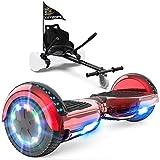 GeekMe Patinete Eléctrico Auto Equilibrio con Hoverkart, Hover Scooter Board, Balance Board + Go-Kart 6.5 Pulgadas con Bluetooth, Luces LED, Regalo para Niños, Adolescentes y Adultos (Red+Black Kart)