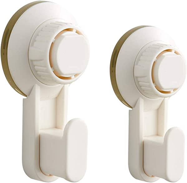 Powerful Bathroom Hook With Suction Cup Holder Removable Shower Rack Home Kitchen Organizer For Towel Bath Robe Coat Loofah White Holder And Hanger By BLISSPORTE 2 Pack