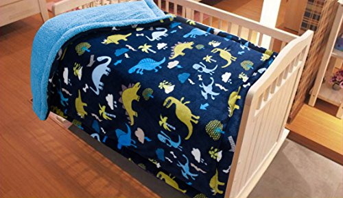 "Golden Linens Baby Infants Printed Sherpa Borrego Ultra soft warm Throw Blanket Bed Cover 40"" X 50"" Navy Blue Dinosaur"