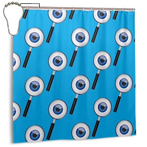 xiaolang Ilustración Vectorial de lupas con Ojos en la Lente en una Cortina de Ducha Azul, decoración del hogar 72inX72in
