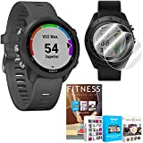 Garmin Forerunner 245 GPS Sport Watch (Slate) with Deco Gear Home Fitness Suite Bundle