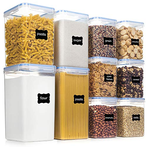 Airtight Food Storage Containers with Lids, PantryStar 10 PCS BPA Free Kitchen Storage Containers for Flour, Sugar, Baking Supplies, Plastic Canisters for Pantry Organization and Storage