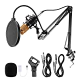 Voilamart USB Streaming Podcast PC Microphone, Condenser Microphone Set BM-800 with Adjustable Recording, Suspension Scissor Arm Stand, Shock Mount, Podcast Condenser Microphone for YouTube, Recording