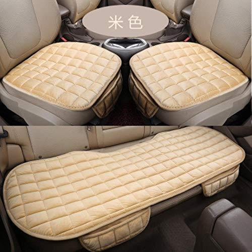 HTRO Car Seats Cushion Cover Universal Full Automobiles Seat Protector Plush car Cushion Car seat Set,Beige Full seat