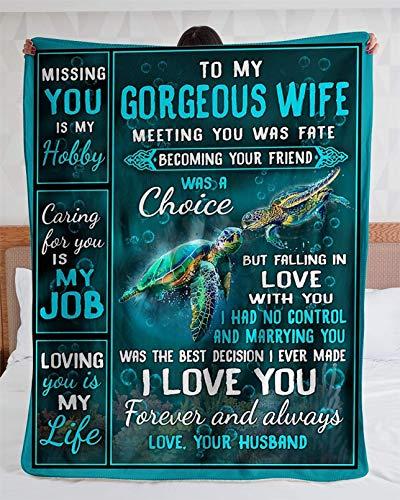 LOVEXIN Manta de Forro Polar para mi Esposa, con Carta Impresa, para Marido para el Postal de la Esposa, Regalo de San Valentín Manta de Franela,C,150 * 200