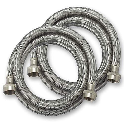 CompatibleBrands Washing Machine Hoses Burst Proof 6 Ft Stainless Steel Braided - 2 Pack (SSHOSE6FT2PK)