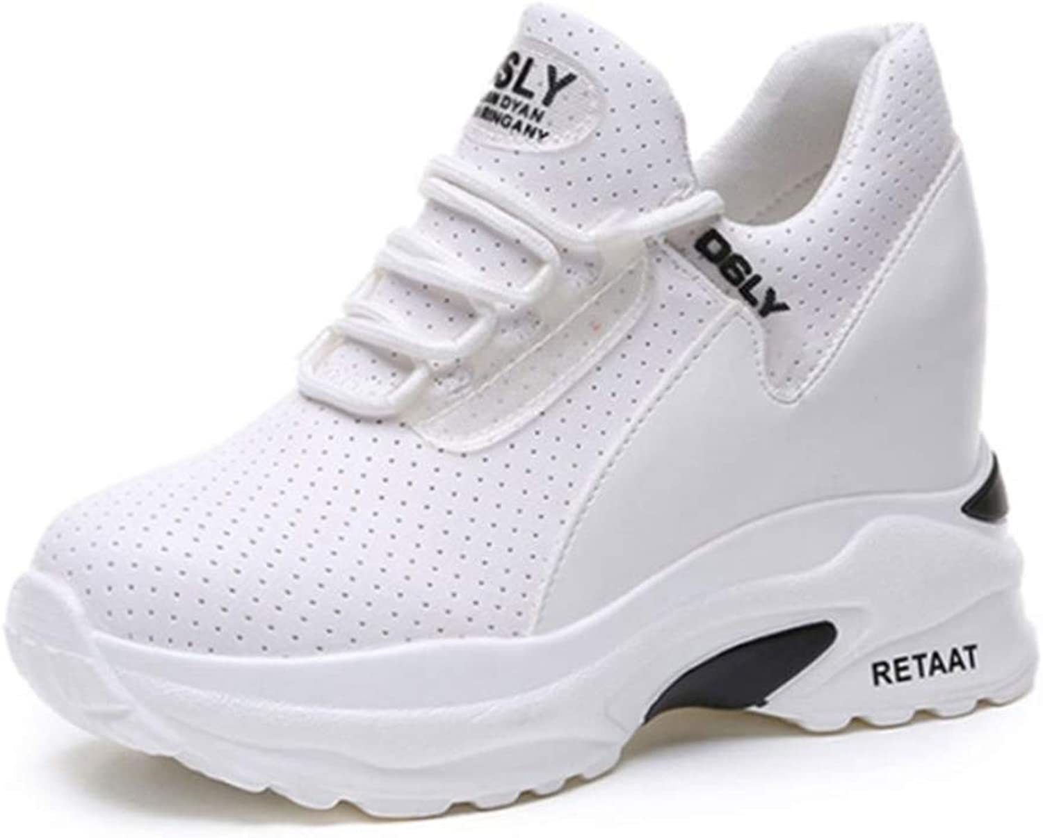 T-JULY Heel Lady Casual White shoes Women Sneakers Leisure Outdoor Platform shoes Breathable Height Increasing shoes