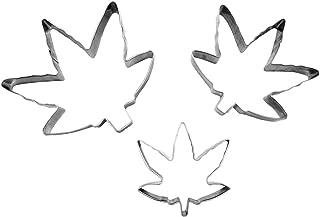 3 Piece Marijuana Leaf Shaped Cookie Cutter Set, Silver