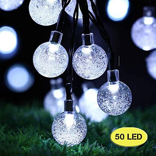 Solar Outdoor Garden Lights, 50 LED 7M / 24ft Solar String Lights Waterproof 8 Modes Indoor/Outdoor String Lights Globe voor tuin, terras, tuin, huis, feest, bruiloft, festivaldecoratie (helder wit)