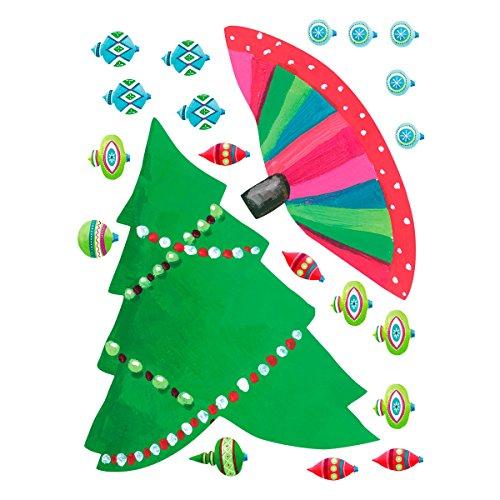 Wallies Vinyl Holiday Christmas Tree Mural, Multi-Colour