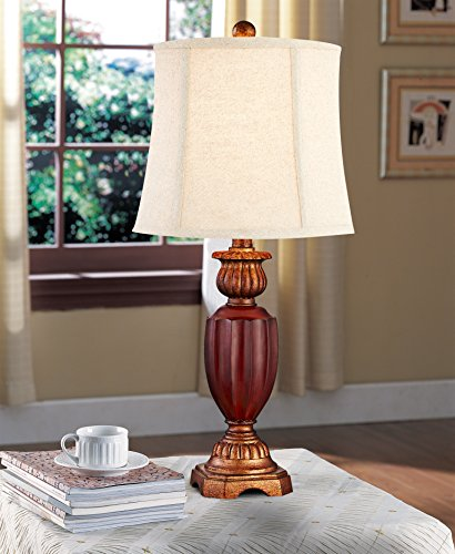 Desk Lamp, DILI HOME Table Lamp Antique Look 2 Pack Beside Lamp With Beige Linen Shade In Warm White Light Nightstand Lamp For Office, Hallway, Bedroom, Dormitory, Cafe