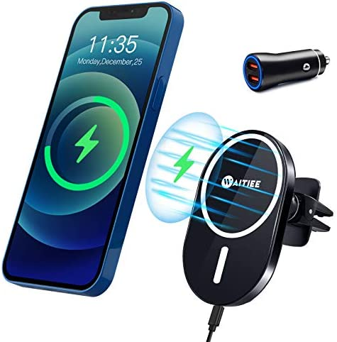 WAITIEE Magnetic Wireless Car Charger Compatible with iPhone 12 12 Pro 12 Pro Max 12 Mini with product image