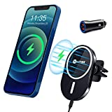 WAITIEE Magnetic Wireless Car Charger Compatible with iPhone 12/12 Pro/ 12 Pro Max/ 12 Mini with QC3.0 Adapter 15W/ 10W/ 7.5W/ 5W Fast Wireless Car Charger Mount with Secure Air Vent Clamp (Black)