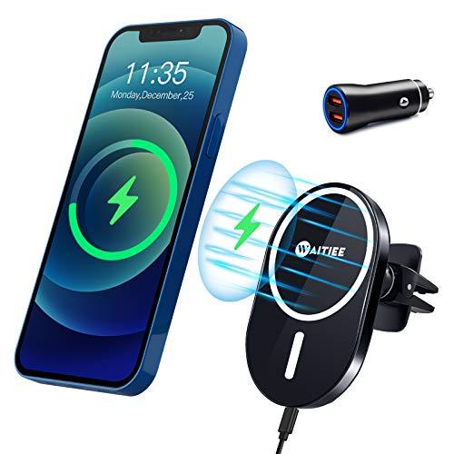 WAITIEE Cargador inalámbrico magnético de Coche, Soporte de teléfono de Carga inalámbrica de 7,5 W, Compatible con el iPhone 12/12 Pro / 12 Pro MAX / 12 Mini Solamente - Negro