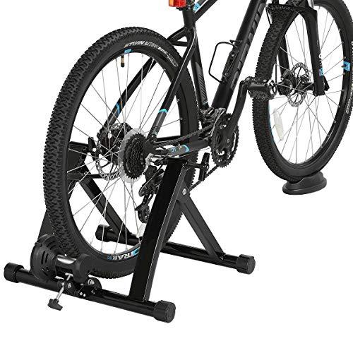 Yaheetech Rollentrainer Fahrradtrainer Indoor Stahl Fahrrad Übung Klappbar Magnetischer Ständer für Rennrad 26-28 Zoll