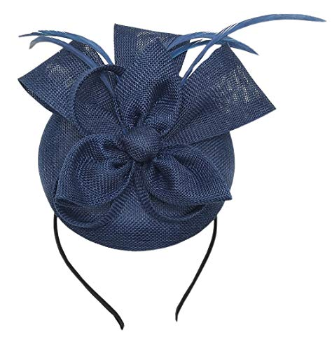 GIZZY® Ladies Black /& Cream Sinamay /& Feather Fascinator Set on Hair Clip and...
