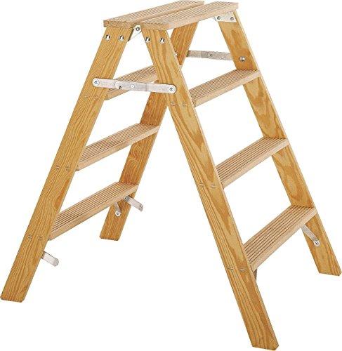 Preisvergleich Produktbild ILLER-LEITER Geis&Knoblauch Montage-Gipserbock Holz 20204 4 Stufen Sprossenleiter 4039665002407