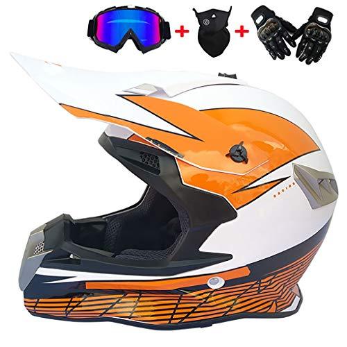CHAOYUE Casco de Motocross, Casco Cruzado de Cara Completa para Adultos con Gafas, Guantes de Máscara, Casco de Enduro para Motociclismo ATV MTB Quad Moto Casco, 4 Seasons