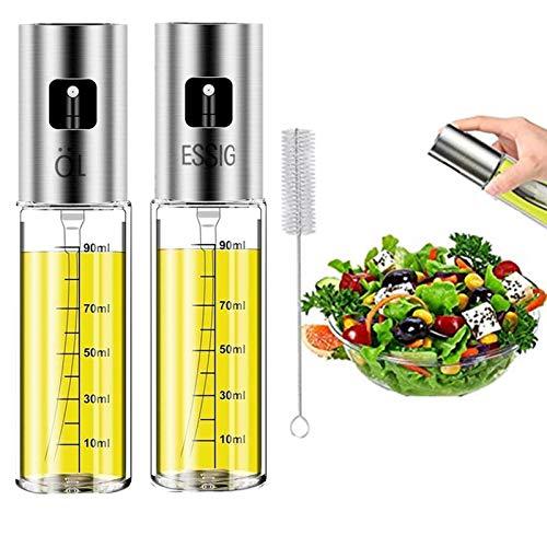 Nifogo Dispensador de Pulverizador de Aceite 2 Pcs, Oil Sprayer 100 ML Vinagre/Aceite de Oliva de Acero Inoxidable Botella de Vidrio para Herramienta de Cocina cocinar (100ML-2PCS)