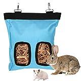 LUTER 28x23x2cm Borsa per mangiatoia per Fieno per porcellino d'India Borsa per Fieno per Coniglio Sacco per mangiatoia Appeso, Perfetto per Piccoli Animali Domestici Che Si nutrono di Fieno (Blu)