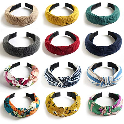 VEGCOO 12 Pack Diademas de Pelo Anchas Bandas de Pelo Turbantes Diademas de Nudo Cintas Elástica para la Cabeza Hair Accesorios Para Niñas Chica Mujeres (12 Colores)