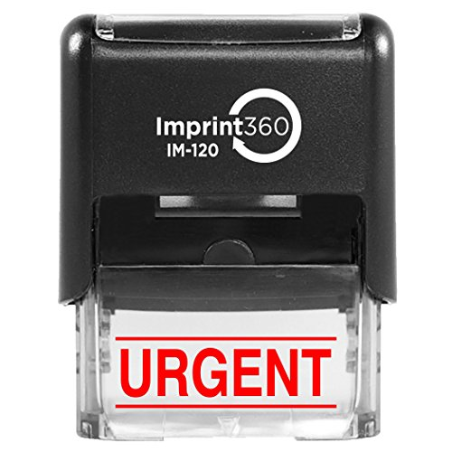 """Supply360 AS-IMP1133R - Urgent w/Upper and Lower Bars, Red Ink, Heavy Duty Commerical Self-Inking Rubber Stamp, 9/16"""" x 1-1/2"""" Impression"""