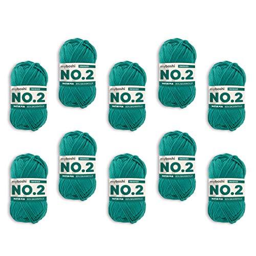 myboshi Woll-Modell: No.2, mit Kapok, 10er Pack Smaragd