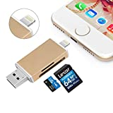 Fixget 3 in 1 USB Memeory Card Reader, MiCROSD/TF/SD Card Reader Adapter with Lightning, USB &…