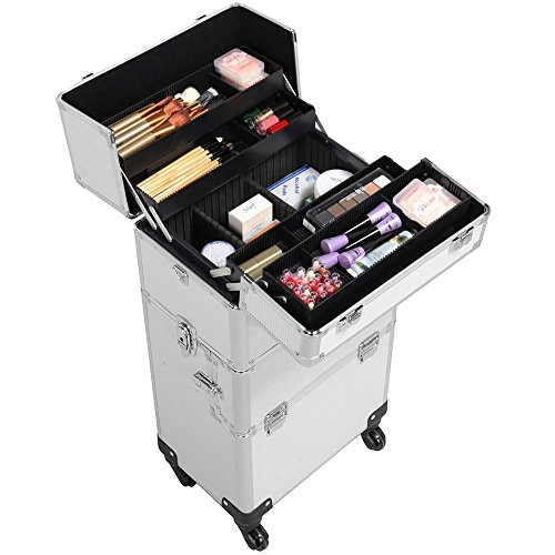 Yaheetech Kosmetikkoffer groß Friseurkoffer 60 L - 4 Rollen Pilotenkoffer schminkkoffer Beautycase Alu