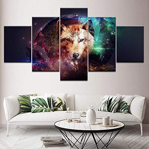 XKLDP Lobo Cara Ojo Pared Arte Lienzo impresión Cartel Imagen Animal Pintura 5 Paneles decoración del hogar-40x60 40x80 40x100cm sin Marco