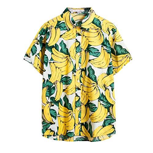 Rusaly Funky Hawaiihemd Herren Kurzarm Banane 3D Drucken Hawaii-Print Lässig Button Down Strandurlaub Hemd Aloha Sommer Hawaiihemd Y, S Gelb (80er Jahre, Hemd schwarz Herren Regular fit)