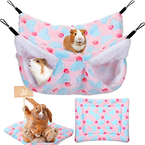 2 Pieces Guinea Pig Hamster Hanging Hammock and Warm Bed Soft Mat Set Small Pet Cage Hammock Hideout Tunnel Cave Hamster Mats for Rat Ferret Guinea Pig Squirrel Small Pet (Pink)