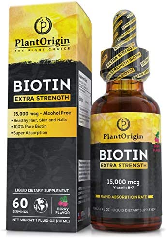 Extra Strength 15000mcg Biotin Liquid Vitamin Drops Supports Hair Growth Glowing Skin Strong product image