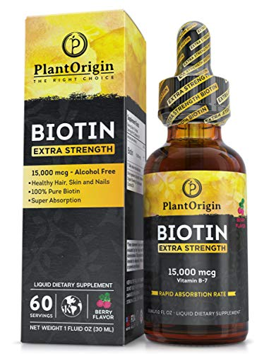 Extra-Strength 15000mcg Biotin Liquid Vitamin Drops - Supports Hair Growth, Glowing Skin & Strong Nails , Alcohol-Free & Kosher,Berry Flavor & Coconut Oil - 5X Better Absorption, 60 Servings