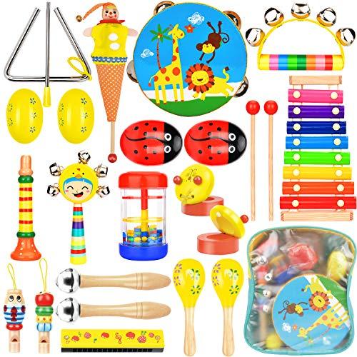 Wesimplelife Strumenti Musicali per Bambini Set Strumenti Musicali Percussioni Giocattolos in Legno Xilofoni Tamburi e Percussioni Giochi Musicali per Bambini con Sacca Portaoggetti
