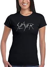 Official Slayer Patinadora Logo Women 's Camiseta de Banda Merch Metallica Exodus Estados Unidos