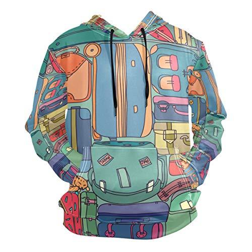 Fanazio - Sudadera con capucha para hombre, colección de maletas de viaje vintage con pegatinas 1 S