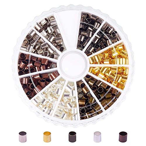 PandaHall Elite 420 Pcs 6 Colors 3mm Brass Tube Crimp Beads Cord End Caps for DIY Jewelry Making