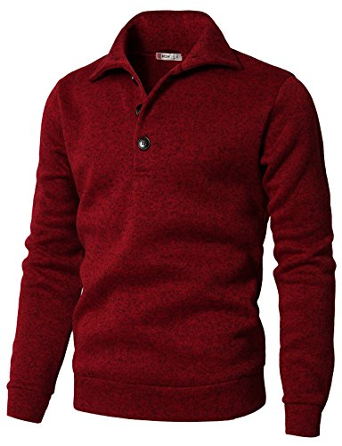 H2H Men's Slim Fit Turtleneck Basic Knit Sweater with Buttons RED US 2XL/Asia 3XL (CMTTL091)