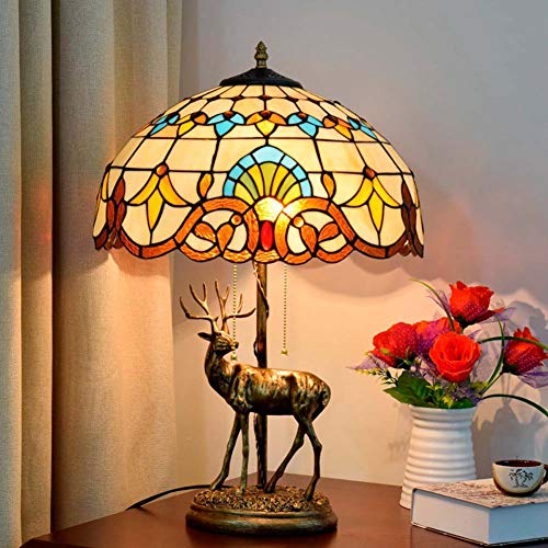 16 Inches Tiffany Style Table Lamp, Baroque Stained Glass Reading Desk Light, Office Living Room Bedroom Night Lighting Fixture, E27 X 2, Bulbs Not Included