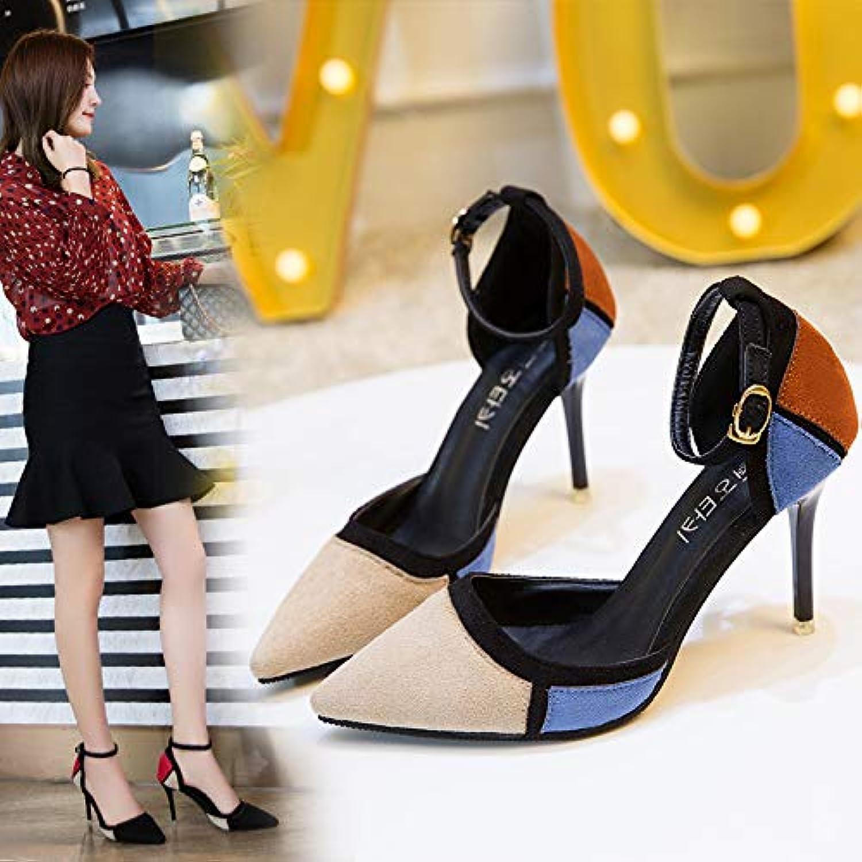HOESCZS High Heels Frauen Sandalen New Spitz Farbe Passende Wort Schnalle Mit Hohl Damen Schuhe Stiletto High Heels Frauen
