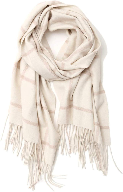 CHX Scarf Winter Woman Lattice Thicken Keep Warm Shawl Wrap 190cm×50cm V (color   White Camel)