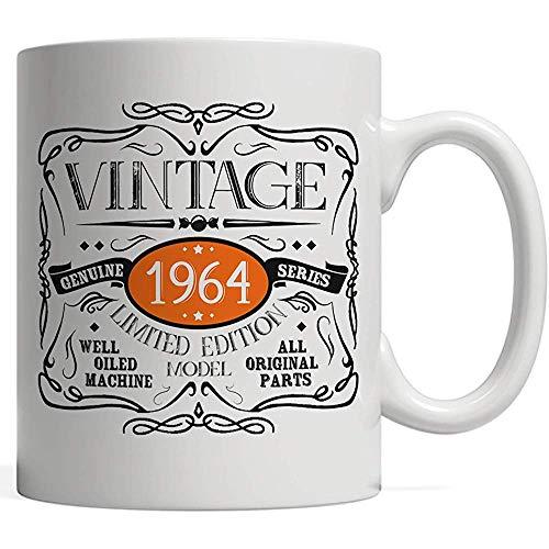 Taza Vintage divertido nacido en 1964 Taza   ¡Idea de regalo de cumpleaños 55, mordaza de piezas originales - Día de aniversario de cincuenta y cinco años, edición limitada, para hombres y mujeres!