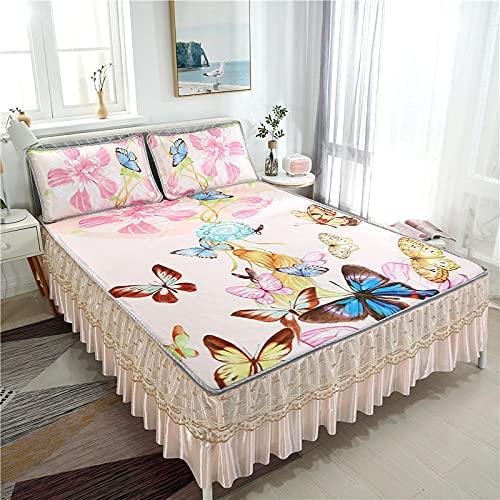 Protector de Colchón | Capa Superior de algodón Transpirable con Esquinas elásticas Colcha de Verano Estilo Falda de cama-13_150cm × 195cm