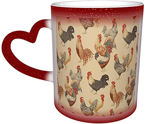 Hahn Huhn lustige Magie hitzeempfindliche Farbe ändern Becher im Himmel lustige Kunst Kaffeetassen personalisierte Geschenke für Familienliebhaber Freunde-Rot