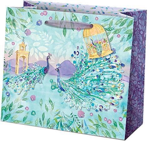 Punch Studio, Pagoda Peacock, Medium Gift Bag, Gift Tag Included